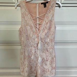 Peach and White Lace Forever 21 Romper